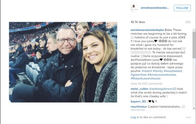 Lewandowski's Wifes joke on Instagram