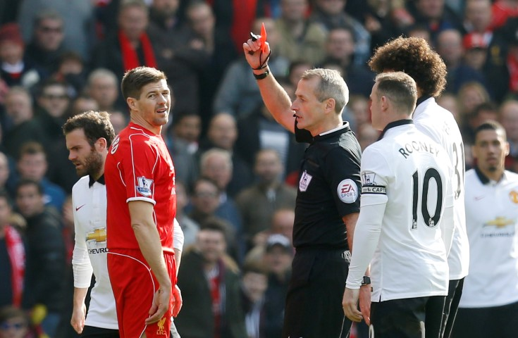 Fastest Red Cards in English Football Steven Gerrard