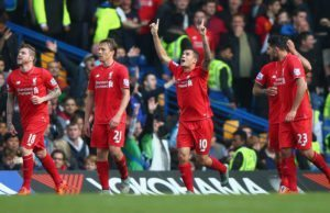 LONDON, ENGLAND - OCTOBER 31:  Philippe Coutinho (3rd L) of Liverpool celebrates scoring his team's second goal during the Barclays Premier League match between Chelsea and Liverpool at Stamford Bridge on October 31, 2015 in London, England.  (Photo by Ian Walton/Getty Images)