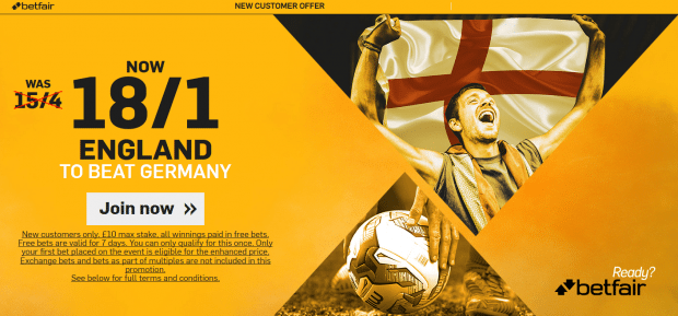 England vs Germany odds betting tips