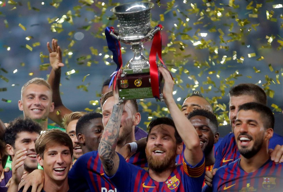 FC Barcelona trophies Lionel Messi