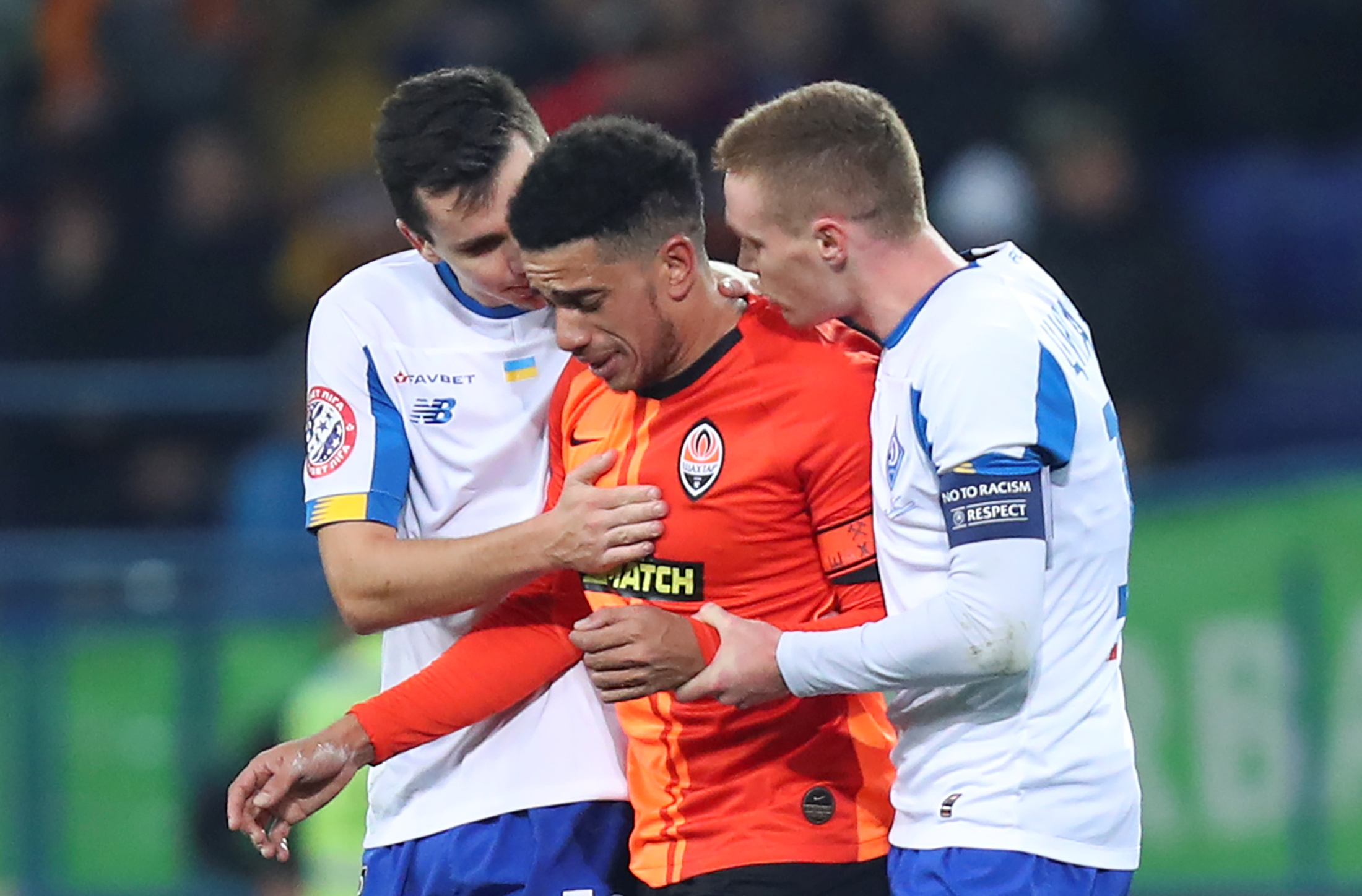 Tearful Shakhtar captain Taison sent off despite being racially abused in Ukraine