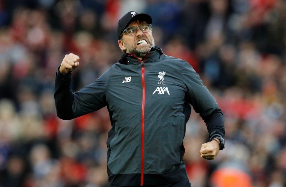 Klopp gets comforted by Liverpool's massive lead
